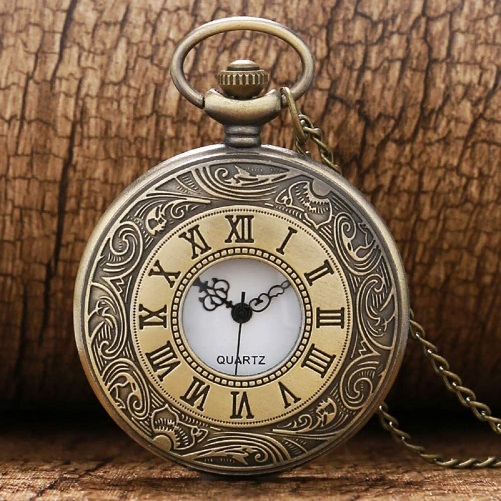 UIEMMY Pocket High order Watch Vintage Bronze Quartz Rare Number Roman Necklace