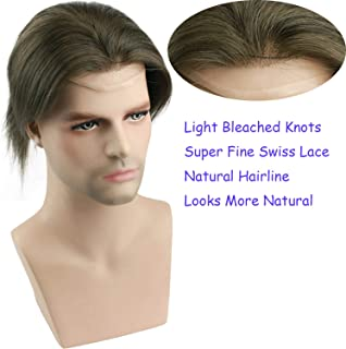 Rossy&Nancy European Virgin Human Hair Toupee for Men with Transparent Swiss Lace 10