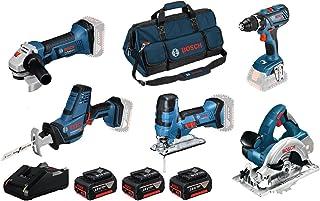 Bosch Professional 0615990L59 systemborrmaskin GSR 18V-28+sticksåg GST S vinkelslip GWS 18-125V-LI cirkelsåg GKS sticksåg ...