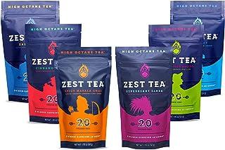 Zest Tea Premium Energy Hot Tea Mega Sampler, High Caffeine Blend Natural & Healthy Coffee Substitute, Perfect for Keto, All Six Flavors, 120 Sachet Bags