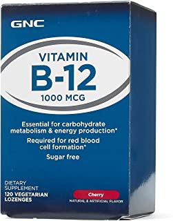 GNC Vitamin B-12 1000mcg, 120 Lozenges, Supports Carbohydrate Metabolism and Energy Production