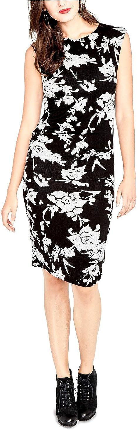 RACHEL Rachel Roy Women's Ruched Floral Print Casual Dress Black Large