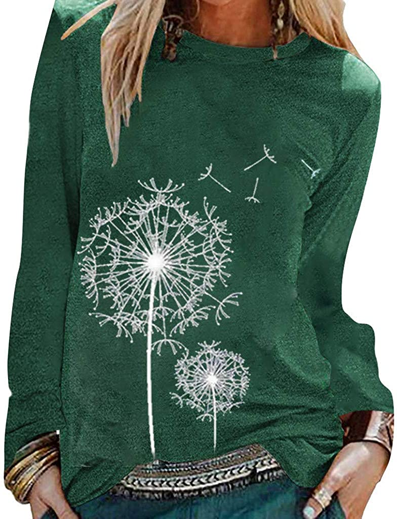 AODONG Sweatshirts for Womens Long Sleeve Pullover Fashion Dandelion Printed Blouse Tops Sweat Shirts