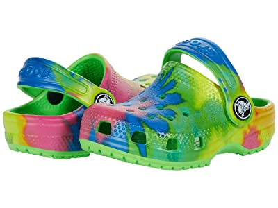 Crocs Kids Classic Tie-Dye Graphic Clog (Toddler/Little Kid/Big Kid) (Neon Green) Kids Shoes