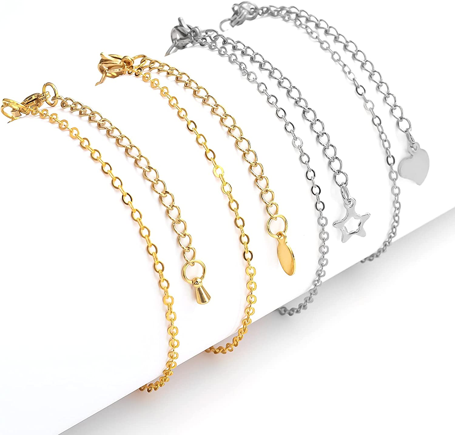 """Yumttero Necklace Extenders Bracelet Extenders Stainless Steel Jewelry Chain Extenders Set for Necklaces Bracelets Gold Plated/Steel Necklace Bracelet Extension Chain 2"""" 4 Different Design 8 Pcs/Set"""