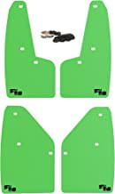 RokBlokz Mud Flaps for 2010-2014 Ford Raptor - Set of 4 - Multiple Colors Available - Includes All Mounting Hardware (Lime Green with Black Logo)