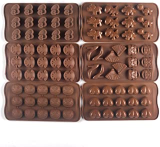 Bekith Silicone Gel Non-stick Chocolate, Jelly and Candy Mold, Cake Baking Mold (Set of 6)
