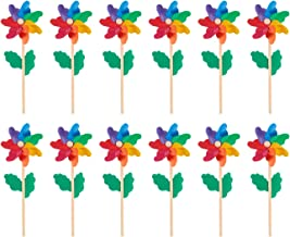 Pinwheels - Pack of 12, Colorful Pinwheels - Value Pack - Suitable for Garden, Party, Outdoor, Yard, Decoration   Multicolored, 4.5 x 11.2 x 2.1 Inches