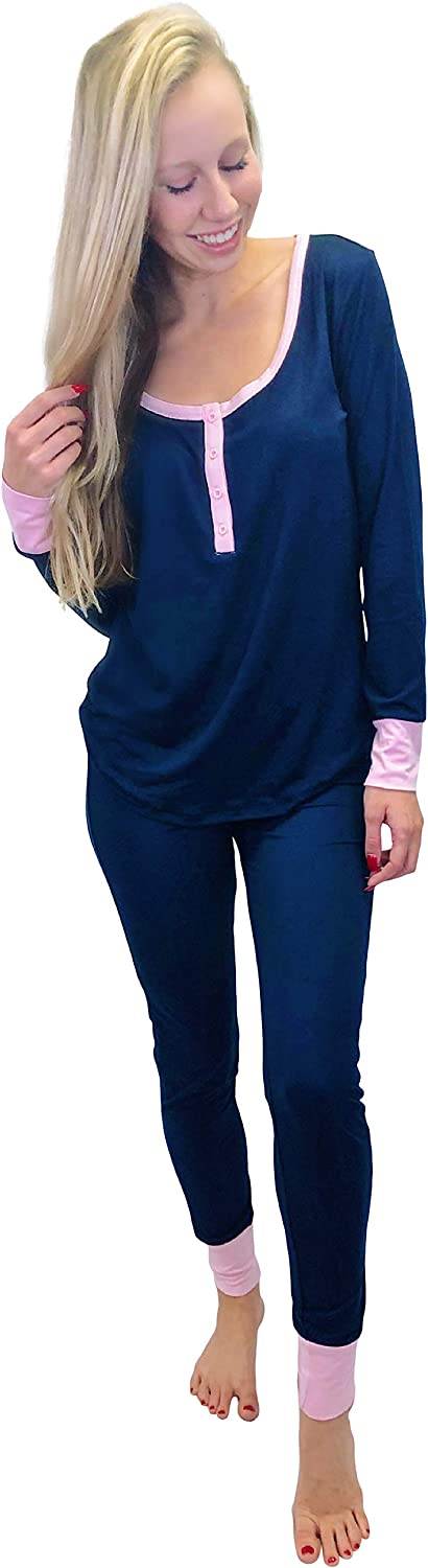 Jordann Jammies Navy and Pink Women's Set Manufacturer regenerated product Soft Super Raleigh Mall an Pajama