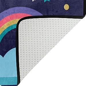 Bennigiry - Alfombra muy suave y moderna con estampado de unicornio, para sala de estar, dormitorio y habitación de niños, 79 x 51 cm, poliéster, Multicolor, 60 x 39 inch