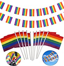 OOTSR Rainbow Flags String (38-face) and Rainbow Hand Held Flag Stick (30 Pack) for Party Decorations Supplies, Parades, Rainbow Festival