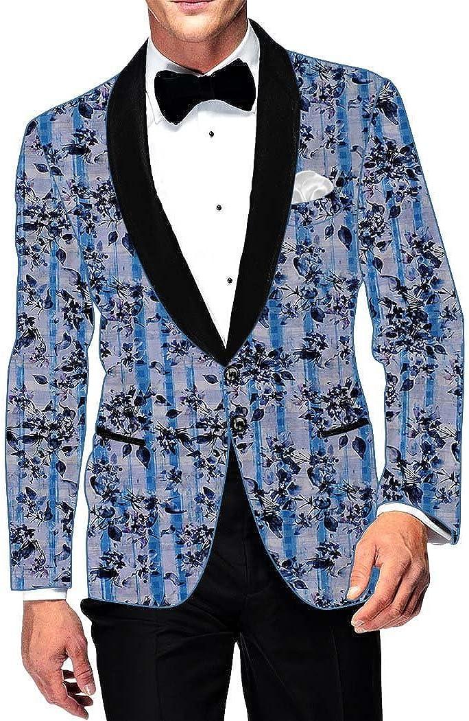 INMONARCH Mens Slim fit Casual Sky Blue Cotton Blazer Sport Jacket Coat Floral Print SB17009