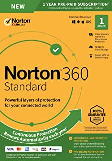 NEW Norton 360 Standard – Antivirus software for 1 Device with Auto Renewal – Includes VPN, PC Cloud Backup & Dark Web Monitoring powered by LifeLock [PC/Mac/Mobile Key Card]