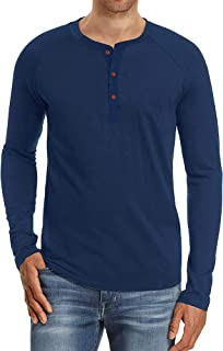 Mens Henley Long Sleeve T Shirt Grandad T-Shirts Collarless Shirts Summer Slim Fit Button Top Casual Work Tshirts
