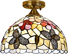 12 Inch Tiffany Style ButterflyCeiling Lights Natural Shell Ceiling Lamp Pastoral Floral Art Ceiling Lighting Fixture for ...
