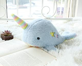 (Blue) - Joy Amigo Soft Narwhal Stuffed Animal Toy with Rainbow Belly and Tusk Fluffy Narwhale Soft Whale with Horn Cute P...