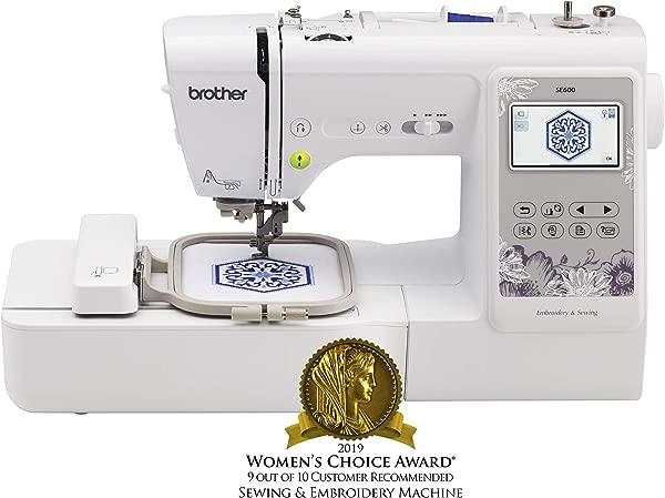 兄弟缝纫机 SE600 电脑缝纫机和绣花机用月个月刺绣面积 80 刺绣设计 103 内置的缝纫针白