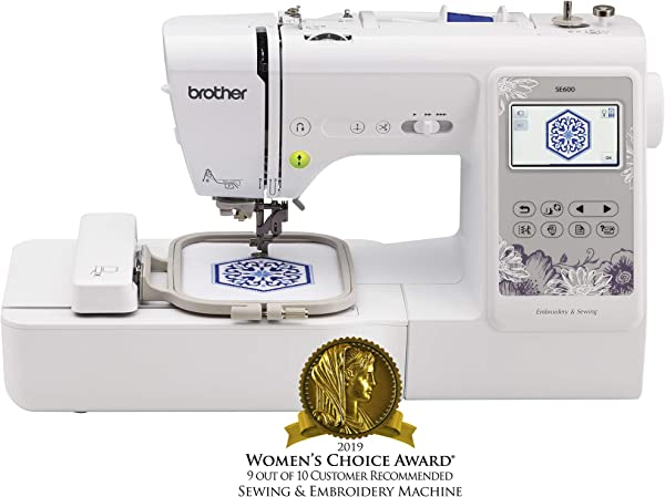 Brother Sewing Machine SE600 Computerized Sewing And Embroidery Machine With 4 X 4 Embroidery Area 80 Embroidery Designs 103 Built In Sewing Stitches White