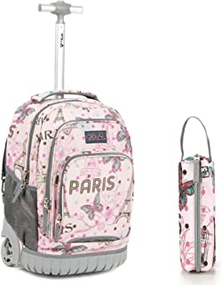 Rolling Backpack 18 Inch with Pencil Case School for Boys Girls, Pink