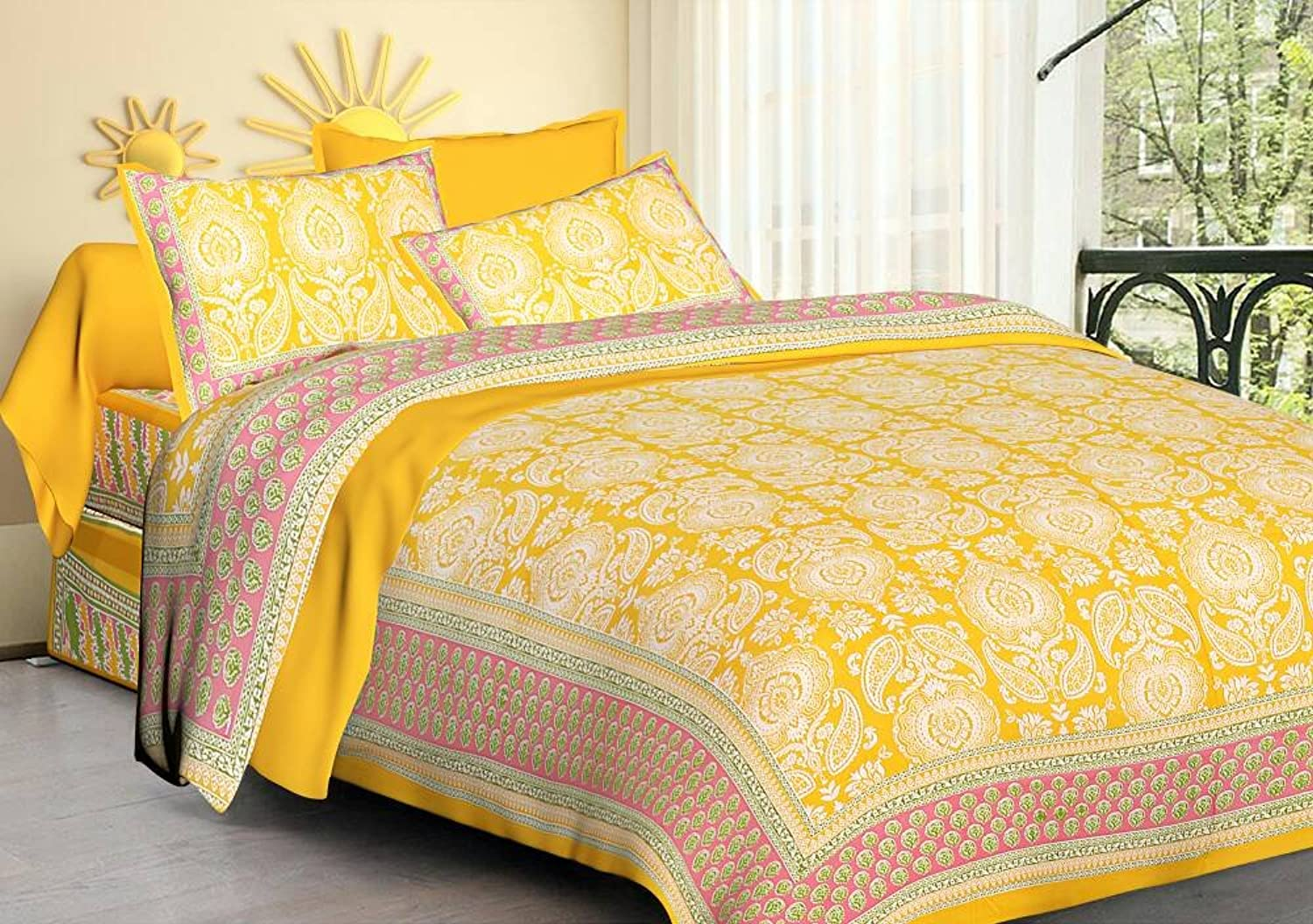 Double Bedsheet Cotton Printed Double Bedsheet with 2 Pillow Covers Fitted Double Bed Sheet Bed Cover Bedspreads Luxury Comfortable Pure 100% Cotton Bed Sheet Exclusive by Gemsandcraft Code1394