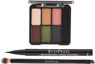EVE PEARL Ultimate Eye Palette with Liner And Dual Brush Kit Smudgeproof Eyeliner Long Lasting Brows Eyeshadow Brush Makeup Set