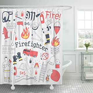 Emvency Shower Curtain Red Alarm Firefighter Freehand Doodle Fireman Extinguisher and Equipment Waterproof Polyester Fabric 60 x 72 inches Set with Hooks