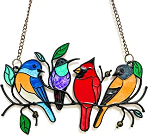 HMISRULE Metal Bird Suncatcher Stained Window Hangings, Hummingbird Decor Bird Ornaments Hanging Sun Catcher Garden Decor, Multicolor Birds On A Wire, Gifts for Bird Lovers (4 Birds)