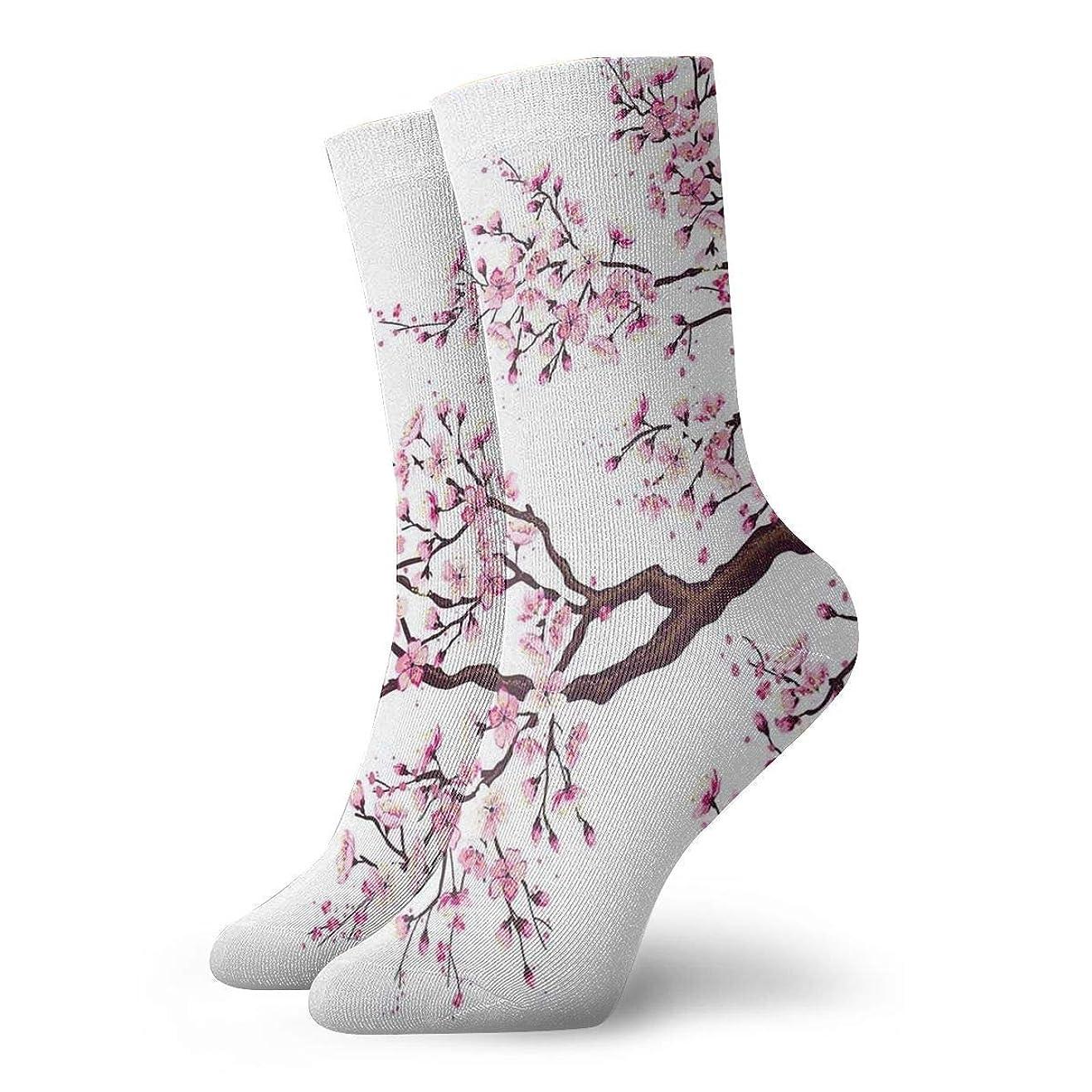 無秩序軍艦ミリメーターストックフォト- Qririyノベルティデザインクルーソックス、桜の木の花チェリー、クリスマス休暇クレイジー楽しいカラフルな派手な靴下、冬暖かいストレッチクルーソックス