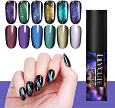 LILYCUTE Luminous Magnetic Gel Polish 3D Wide Cat Eye Gel Nail Polish Glitter Sequins Nail Polish Soak Off Nail Art UV Gel 5ml 12 Colors