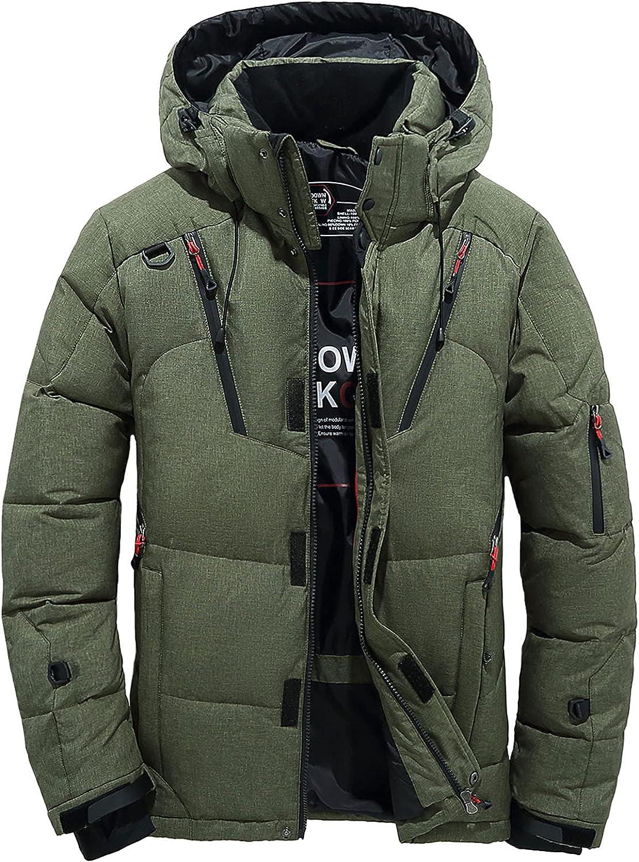 Men's Down Jacket Lightweight Puffer Jacket with 7 Pockets Hooded Warm Winter Snow Cargo Coat
