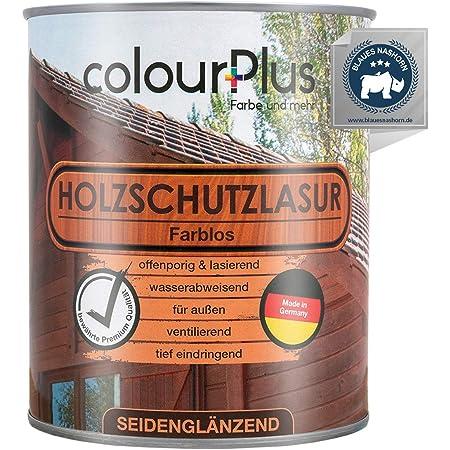 colourPlus® Barniz de alta protección (750ml, transparente) Barniz satinado para madera, exteriores - Base para madera - Pintura de madera para ...