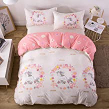 KFZ Girls Magic Unicorn Duvet Cover Set, 3PCS Twin Bedding Set with One Comforter Cover (Without Comforter Insert),2 Pillow Cases, Hypoallergenic and Breathable Princess Bed Sets for Girls