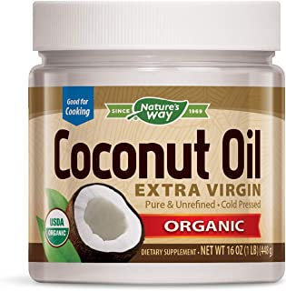Nature's Way USDA Organic Extra Virgin Coconut Oil- Pure, Cold-Pressed, Non-GMO, 16 Ounces