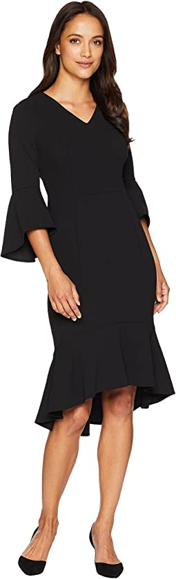 V-Neck Bell Sleeve Dress with High-Low Hem CD8C19NG