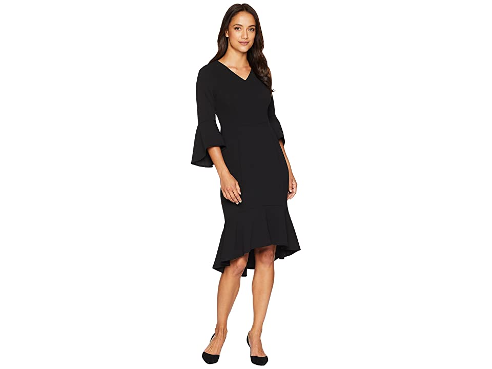 Calvin Klein V-Neck Bell Sleeve Dress with High-Low Hem CD8C19NG (Black) Women