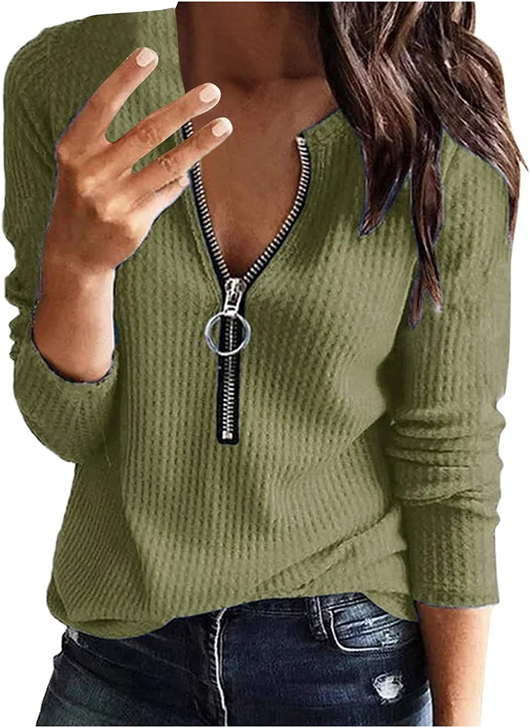 Eoailr Tops for Women, Womens Long Sleeve Tshirt V Neck Loose Fit Soft Waffle Knit Thermal Tops Loose Fitting Warm Tee