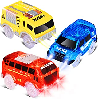 Track Cars Replacement Only Light Up Toy Cars with 5 Flashing LED Lights Toys Racing Car Track Accessories Compatible with Magic Tracks and Neo Tracks with Most Track cars for Boys and Girls (3 Pack)