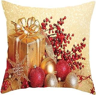 JustWin Merry Christmas Short Plush Pillowcase Sofa Pad Set Gift Ball Print Home Decoration 18x18 Inch