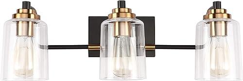 SOLFART 3 Head Vintage Bath Vanity Light Wall Bathroom Over Mirror Modern Glass Shade Light Fixtures (3 Lights-Exclud...