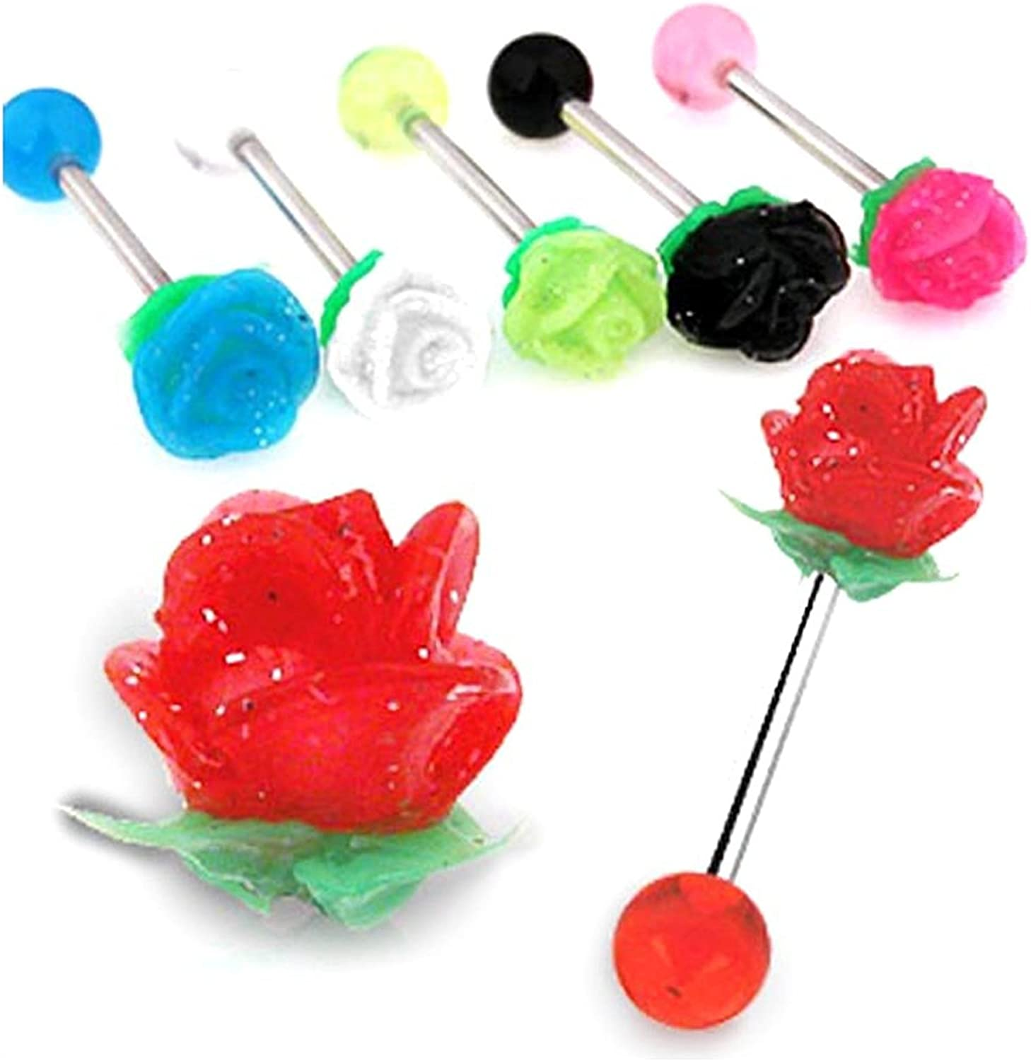 Covet Jewelry Barbell with Acrylic Reactive Silicone Flower Top