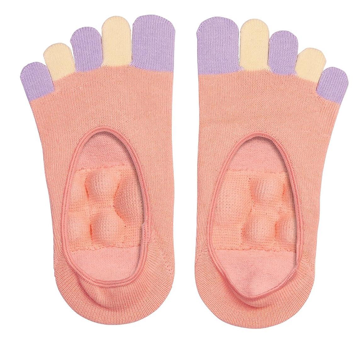 この演じる不器用眠れる森の5本指足裏プッシュソックス ピンク