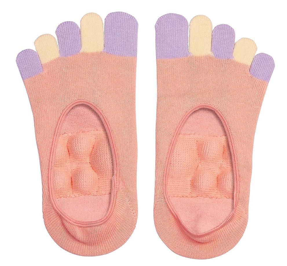 請う調和甲虫眠れる森の5本指足裏プッシュソックス ピンク