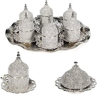 27 Pc Turkish Greek Arabic Coffee Espresso Cup Saucer Swarovski Crystal Set