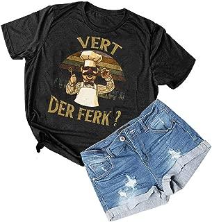 Women Vert Der Ferk T-Shirt Vintage Short Sleeve Swedish Chef Graphics Tee Tops