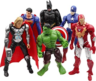Jubasix Superhero Action Figures - 6 PCS Action Figure Set - Batman, Superman, Hulk, Thor, Ironman, Captain America PVC Figure Toy Dolls – Hero Cake Toppers