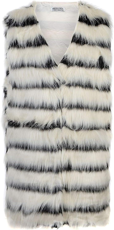 LotMart Ladies Faux Fur Sleeveless Gilet Women Waistcoat Jacket Outerwear Coat