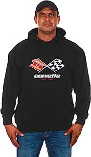 JH DESIGN GROUP Mens Chevy Corvette Hoodie C3 Series Logo Black Sweatshirt
