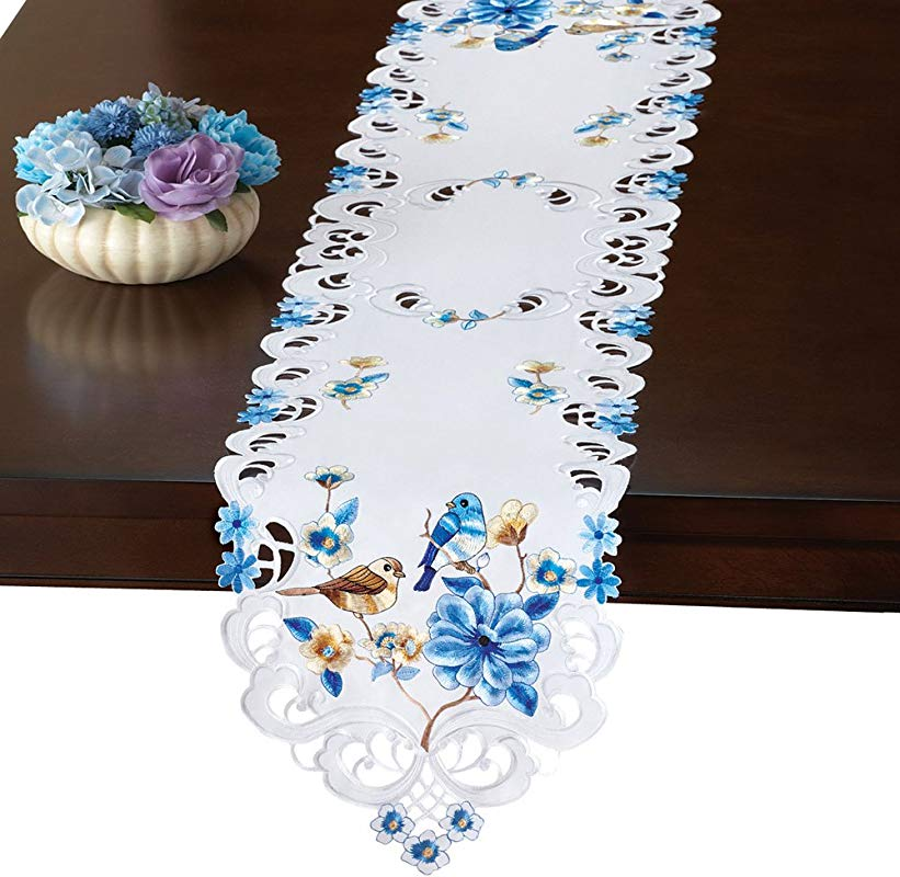 Collections Etc Birds Floral Embroidered Spring Table Linens Runner