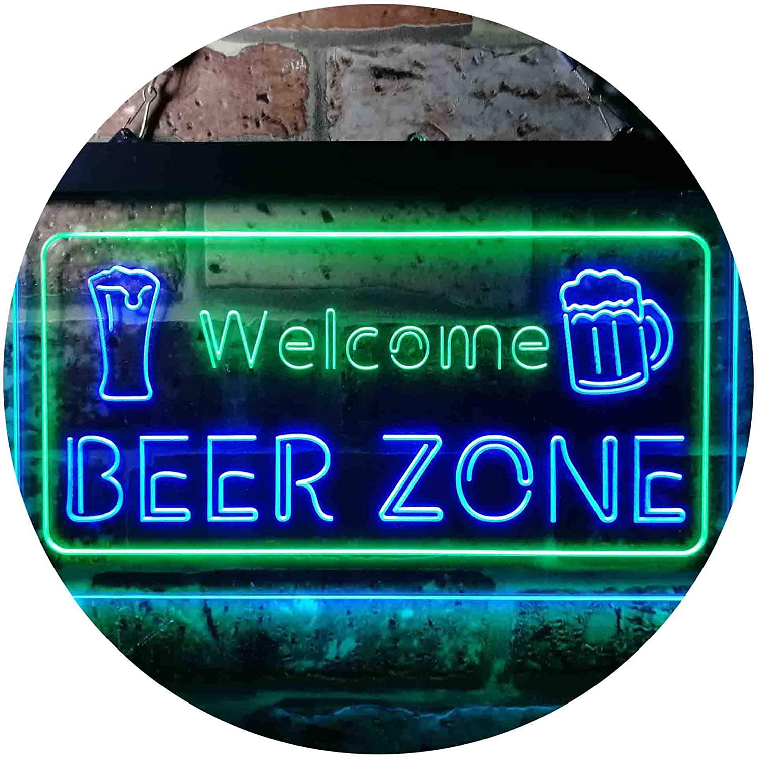 ADVPRO In a popularity Ranking TOP5 Welcome Beer Zone Bar Club Green Dual Sign LED Color Neon