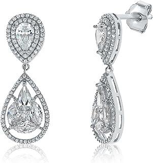 Montage Jewelry Women's Sterling Silver & Cubic Zirconia Vintage Drop Earrings